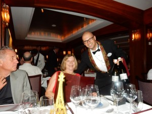 Crystal Serenity World Cruise Wine Sommalier Enrico Olivieri serving our friends Pinky and John