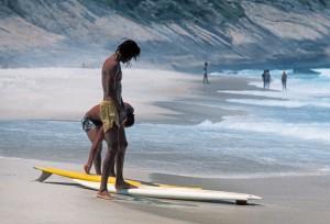 Rio de Janeiro surfers on Gavea Beach